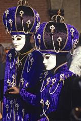 Striking blue marsks at the Venice Carnival