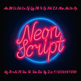 Neon script alphabet font. Red neon uppercase and lowercase letters and numbers. Hand drawn vector typeface for your headers or any typography design. - 181001820