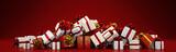 Bunter Panorama Haufen Geschenke zu Weihnachten - 181004241