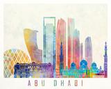 Abu Dhabi V2 landmarks watercolor poster