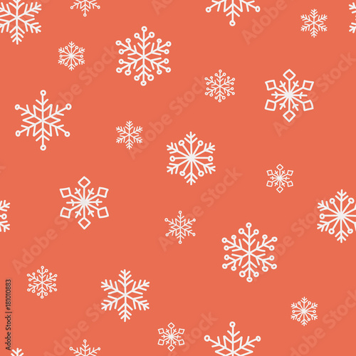Red snowflake vector seamless pattern. .