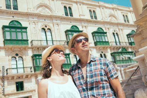 Tourists couple in Valletta, Malta