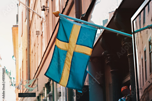 Aluminium Stockholm sweden flag in stockholm, gamla stan