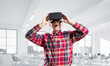 Concept of modern entertaining technologies with man wearing virtual reality mask