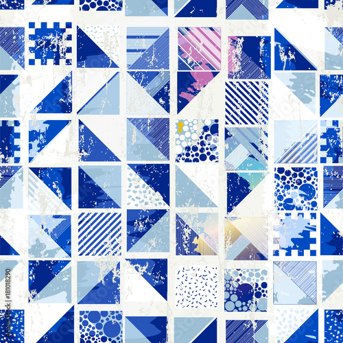 Plexiglas Abstract met Penseelstreken abstract geometric background, with squares, dots, paint strokes and splashes, seamless