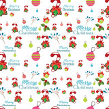 Seamless pattern with santa claus,  christmas tree, snowman and tree under the snow,  Background for invitation, poster, greeting cards,  wallpaper, New year holiday vector illustration,