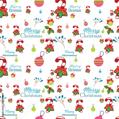 Seamless pattern with santa claus,  christmas tree, snowman and tree under the snow,  Background for invitation, poster, greeting cards,  wallpaper, New year holiday vector illustration, - 181019099