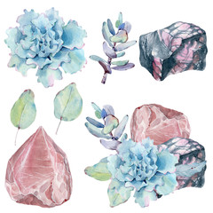 Watercolor set with gemstones and succulents. © Marina