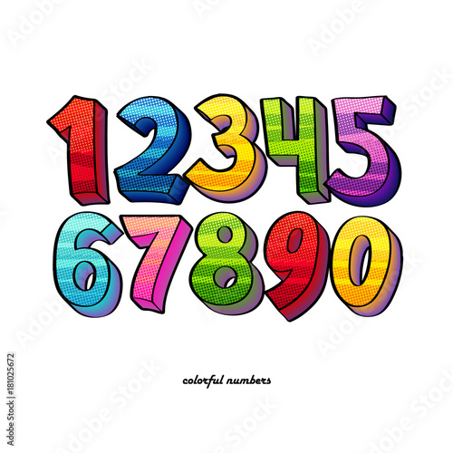 Staande foto Pop Art colorful pop-art style numbers