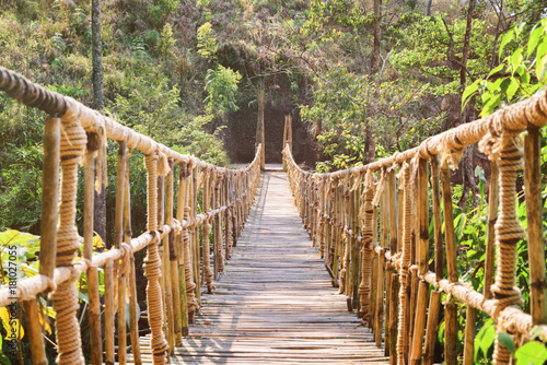 mata magnetyczna Amazing footbridge made from rope and bamboo