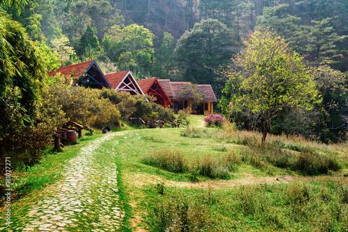 Papiers peints Pistache Beautiful rural landscape. Rustic houses with tile roofs