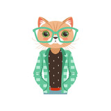 Cute fashion cat guy character in turquoise glasses and a jacket, hipster animal flat vector illustration