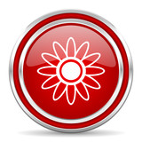 Flower red silver metallic chrome border web and mobile phone icon on white background with shadow