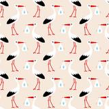 Seamless Baby Pattern Stork Boy Beige