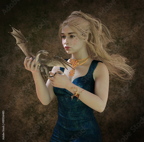 Beautiful blonde and fantasy dragon 3d illustration