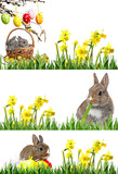 little rabbits and easter eggs isolated on white - banners - 181036600