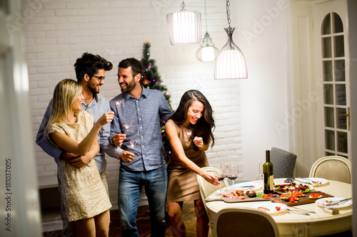 Cheerful women and men celebrating New Year eve with sparkles and wine