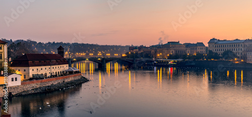 Staande foto Rome Panoramic morning view from Charles Bridge - Prague, Czech Republic