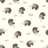 Cute cartoon seamless pattern with stylized elephants. Children style vector illustration