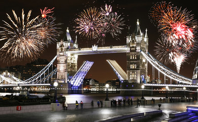 Tower Bridge at Night - New Year's Eve Fireworks over Tower Bridge