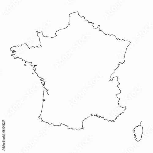 France Map Outline Graphic Freehand Drawing On White Background