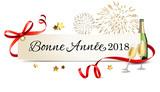 Carte de salutations avec champagne et feu d'artifice - Bonne année 2018 - 181049496