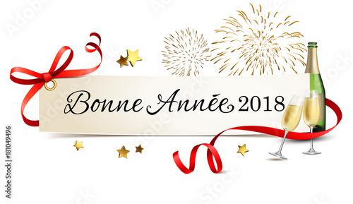 Carte de salutations avec champagne et feu d'artifice - Bonne année 2018