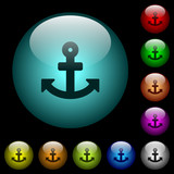 Anchor icons in color illuminated glass buttons