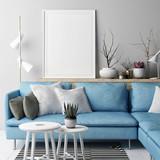 Mock up poster, Living room Nordic concept design, blue sofa on gray background, 3d illustration, 3d render