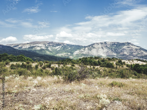 Papiers peints Beige view on the mountain peak, skyline, clouds