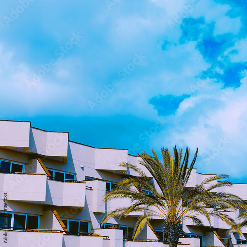 Tuinposter Canarische Eilanden Tropical location. Palms and hotel. Geometry. Minimal art