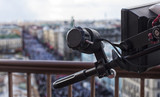Professional digital video camera. professional camcorder on the shooting of the cityscape. - 181065415