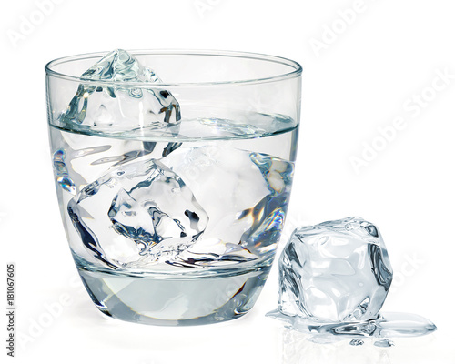 Foto Murales Glass of water with ice on white backgrond