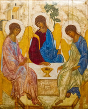 """Постер, картина, фотообои """"Casorate Primo, Italy. October 26 2017. The icon of the Holy Trinity (also called The Hospitality of Abraham) according to that painted by Andrei Rublev in the 15th c. Santo Vittore Martire Church."""""""