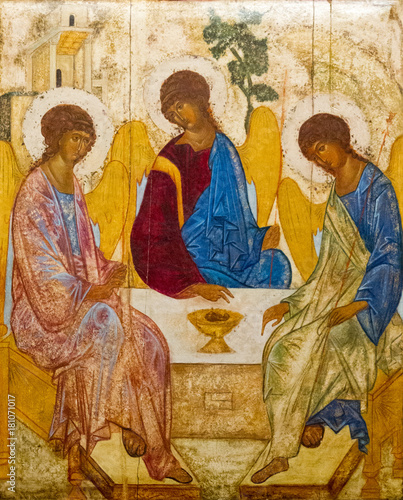 Casorate Primo, Italy. October 26 2017. The icon of the Holy Trinity (also called The Hospitality of Abraham) according to that painted by Andrei Rublev in the 15th c. Santo Vittore Martire Church. © Adam Ján Figeľ