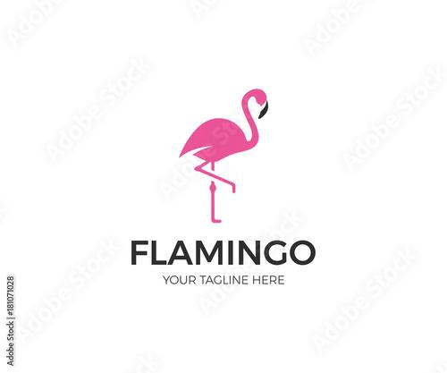 Pink Flamingo Logo Template. Bird Vector Design. Animal World Illustration