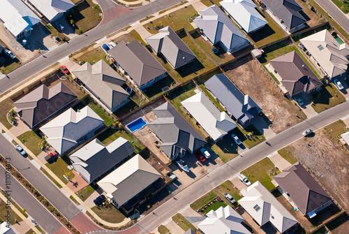 Obraz na płótnie Aerial photograph of suburban housing
