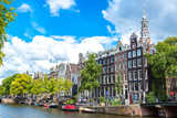 Amsterdam canals and  boats, Holland, Netherlands. - 181076221