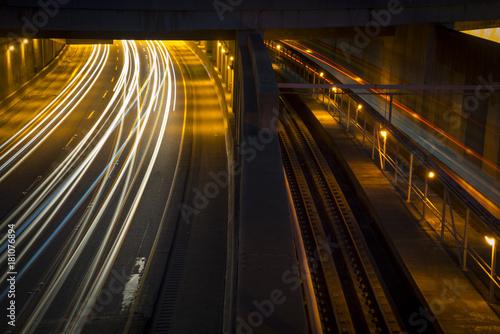 Poster Nacht snelweg Atlanta, GA MARTA