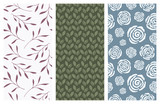 vector seamless patterns with flowers and leaves - 181077225