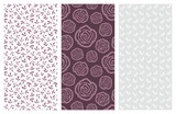vector seamless patterns with flowers and leaves - 181077413