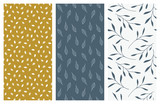 vector seamless patterns with leaves and foliage - 181077473
