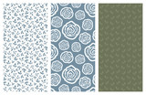 vector seamless patterns with flowers and leaves - 181078031