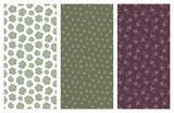 vector seamless patterns with flowers and leaves - 181078080