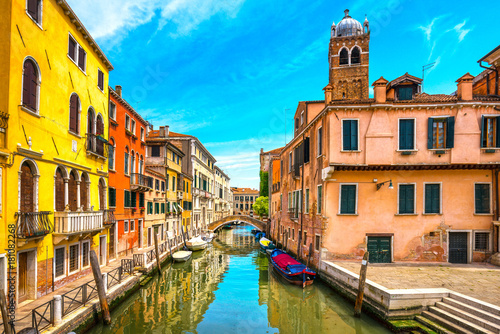 Deurstickers Venetie Venice cityscape, water canal, campanile church and traditional buildings. Italy