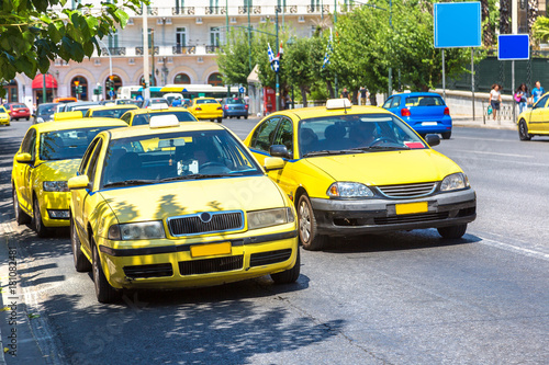 Yellow taxi in Athens