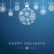 Blue Snowflake Ornament Happy Holidays Square Vector Background 1