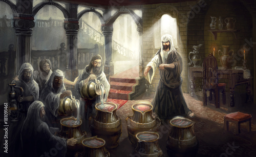 christ turning water into wine © vukkostic