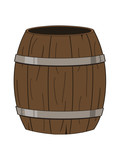 vector illustration of an empty wooden barrel