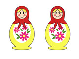 a set of two traditional Russian nesting dolls with happy and angry face